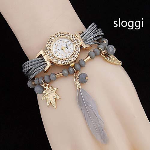 BlackEdragon Lady Owl Feather Armband Liste Uhr Top-Marke Quarzuhren Quarzuhr Uhr Armbanduhren