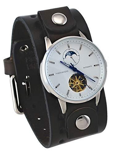 Nemesis BNBB512W Men's Open Heart Tourbillon Moon Phase Wide Leather Band Automatic Watch