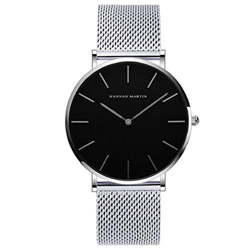 Hombre Relojes, L'ananas Estilo Minimalista Impermeable Anolog Negocio Cuarzo Malla Acero Inoxidable Reloj de Pulsera con Caja de Regalo Wristwatch (Plata)