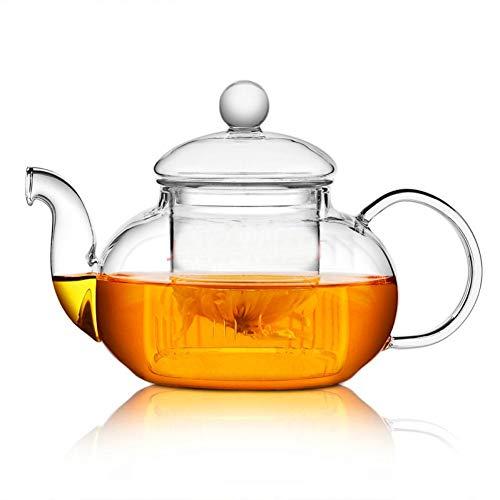 ertiger, Hitzebeständiger Glasblumenteekessel, Praktische Teekanne Mit Blumen-Teetasse Und Infuser-Tee-Blatt-Kräuterkaffee ()