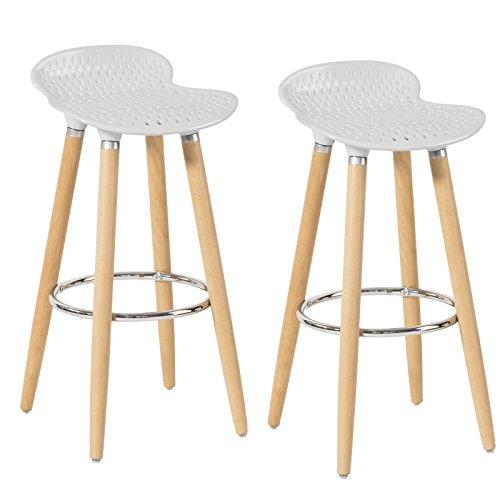 SoBuy® 2er Set Barhocker Barstuhl Hocker Tresenhocker weiß 2xFST35-W (Tischsets Zum Verkauf)