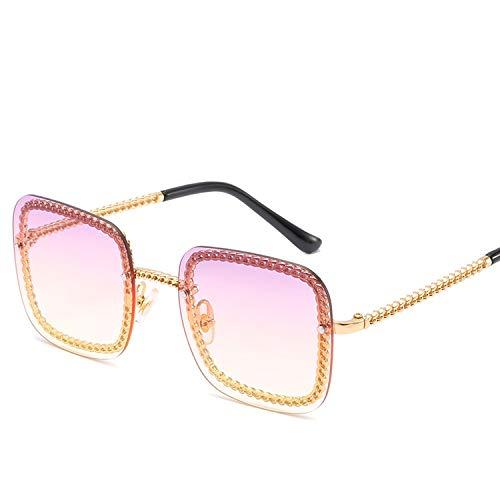 FIRM-CASE Quadrat-Sonnenbrille-Dame-Sonnenbrille-Frauen-Weinlese-Randlos Gradient-Sonnenbrillen Weiblich, 1