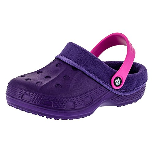 Gefütterte Kinder Clogs für Jungen und Mädchen Unisex Winter Schuhe Pantoffel M479lipi Lila Pink 24/25 EU