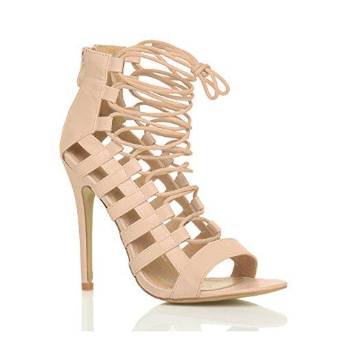 Femmes talon haut à lanières coupé peep toe lacets sandales chaussures pointure Beige Mat