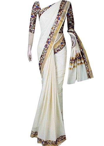 women printed kutampully handloom ethnic kalamkaari kerala saree with blouse