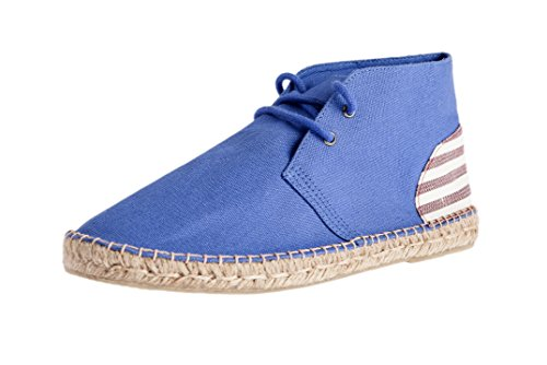 Casimiro Perez , Desert boot Espadrilles Terceira collection Blue with burgundy striped back heel patch