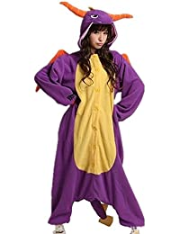 Colorfulworld Kigurumi Pijamas Juguetes Ropa y Juegos Animal Traje Pijama Cosplay Disfraces (M: 158-168CM, Purple dragon)