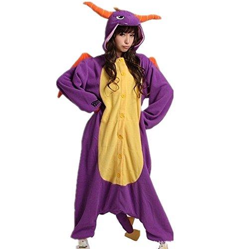 Colorfulworld Pijamas Juguetes Ropa y Juegos Animal Traje Pijama Cosplay Disfraces (XL: 178-188CM, Purple dragon)