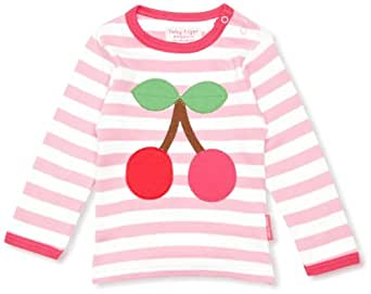 Toby Tiger Cherry Patterned Girl's T-Shirt Pink/White 3-4 Years