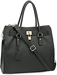 BOVARI sac à main Golden Padlock Bag - cuir de veau à imprimé saffiano - 37x30x16cm - noir