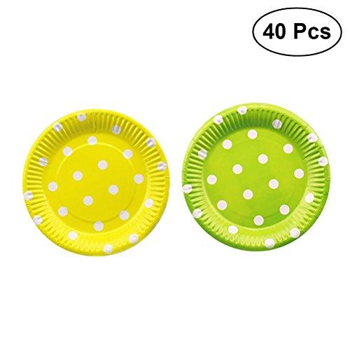 (TOYMYTOY 40 Stück Pappteller Einwegteller Partyteller Polka Dot Rund Papier Teller Geburtstag Grillfest Party Supplies (Grün und Gelb))