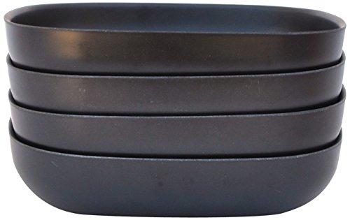 EKOBO 34079 4-er Set Salatteller/Spaghettiteller, schwarz