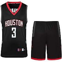 Camisa de Baloncesto Rockets Paul # 3, Conjunto de Chaleco y Pantalones Cortos de Dos Piezas para Juegos de Baloncesto, Jersey Swing Negro (s-XXXL)-Black-XL