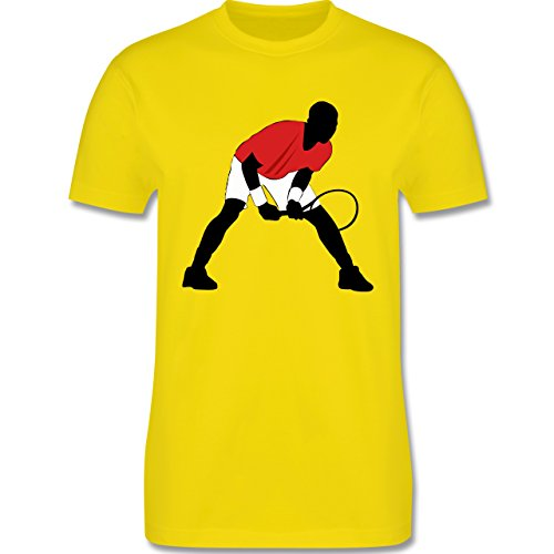 Tennis - Tennis Squash Aufschlag Annahme - Herren Premium T-Shirt Lemon Gelb