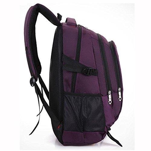 Mode Wasserdichte Nylon Rucksack Freizeit Reisetasche Student Bag,Purple Purple