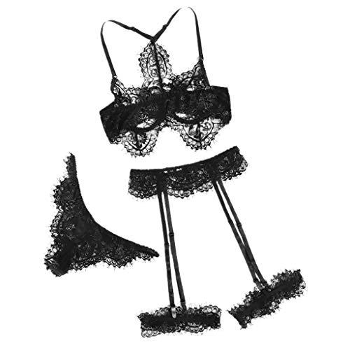 Kostüm Kletter - Clacce Split Dessous Sexy Dessous Set Damen Spitze Reizwäsche Unterwäsche Spitzen-BH Ouvert und Slip und Strumpfband