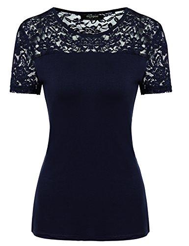 Zeagoo Damen V-Ausschnitt Kurzarm Basic Shirt Stretch Baumwolle T-Shirt Figurbetont Obertail Top mit Spitze (EU 42/ XL, A-Marine) (Top Marine-blau-t-shirt)
