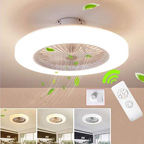 WHL Deckenventilator mit Beleuchtung, LED-Deckenventilator, 36 W, Deckenbeleuchtung, mit Fernbedienung dimmbar, 3 Dateien, einstellbare Windgeschwindigkeit, modernes Schlafzimmer,Weiß