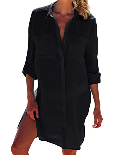 Bsubseach Mujer Vestido Playa Raya Negra Encubrimiento