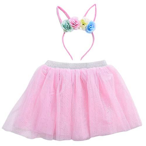 Vivianu 3-8T 2-teiliges Set in süßer Farbe für Kinder Mädchen Tutu Rock mit niedlicher Katze im Ohr Party Stirnband aus Tüll-Blume
