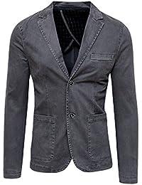 Blazer Giacca Uomo Grigio Scuro Slim Fit Elegante Formale Casual 6f5a5e56875