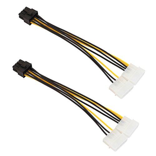 Sharplace 4-Pin Molex Männlich 8-Polig PCI Express PCIE Weiblich Leistung Adapter Grafikkarten-Stromkabel Adapter Strom Kabel - 2 Stücke