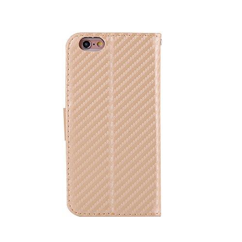 iPhone 6/6S Coque, Voguecase Étui en cuir synthétique chic avec fonction support pratique pour Apple iPhone 6/6S 4.7 (Fibre de carbone-Or)de Gratuit stylet l'écran aléatoire universelle Fibre de carbone-Or
