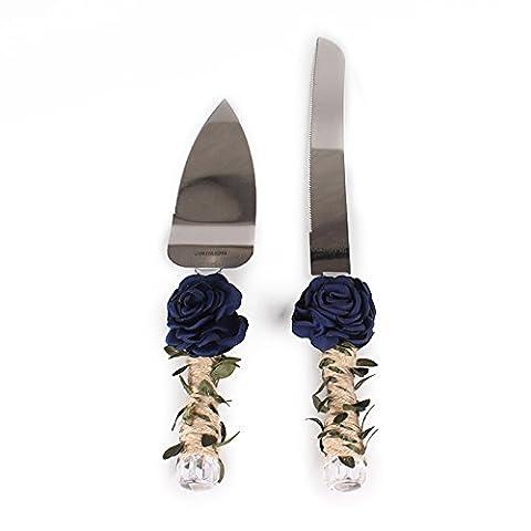 Lugii Cube roses et feuilles de mariage cadeau de douche avec poignée de ficelle rustique gâteau de mariage couteau et ensemble de serveurs