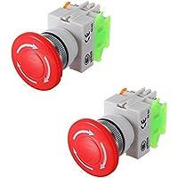 LaDicha 2Pcs N/O N/C Interruptor De Paro De Emergencia Botón Seta 4 Terminales De Tornillo