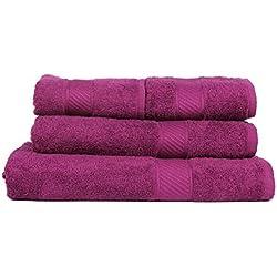 Trident 400g/m², Juego de 4 toallas de algodón (baño y mano), Morado Oscuro