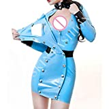 100% Latex Damen Latex Uniform Kleid Mode Fetisch Sexy Rock (XXL(B104 W88 H106 cm))