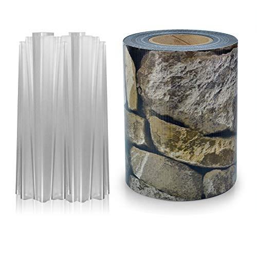 S SIENOC PVC Sichtschutz PVC Sichtschutzfolie Sichtschutzstreifen Garten Sichtschutz Zaun Inkl. 30 x Befestigungsclips 450g/m² -Roll Größe 35m x 19cm für Einzel-Bar, Doppel-Bar (1, Stein-Optik)