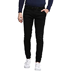 Urbano Fashion Men's Black Slim Fit Stretch Jogger Jeans,Black,32