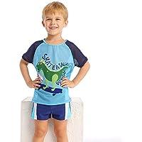 JLWF Traje De Baño para Niños Troncos De Baño + Traje De Baño De Secado Rápido Resistente A Los Rayos UV De Manga Corta Green-6