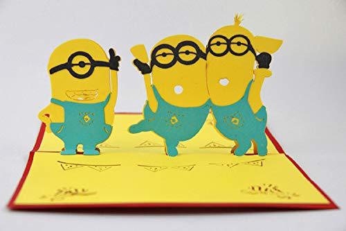 BC Worldwide Ltd handgemachte 3D-Pop-Up Geburtstagskarte Minions-Gruß, Valentines, Hochzeitstag, Vatertag, Muttertag, Party, Einweihungsparty, danke Geschenk