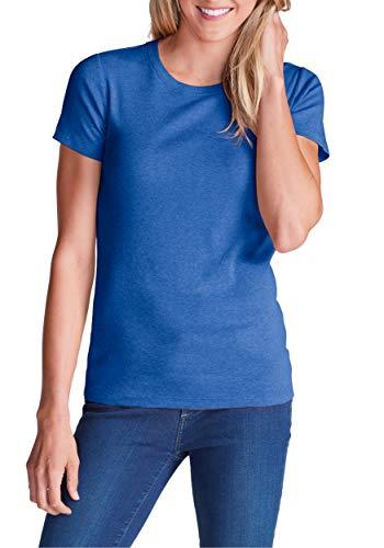 Eddie Bauer Damen Favorite Shirt - Kurzarm mit Rundhalsausschnitt, Gr. XXL (50/52), Schottischblau meliert - Bauer Kurzarm-shirt