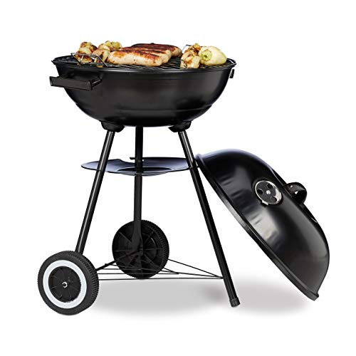 41XhG20DKmL. SS500  - Relaxdays Charcoal BBQ with Lid, Kettle Barbecue for 6 People, Smoker with Wheels, HxWxD 70 x 46 x 46 cm, Black