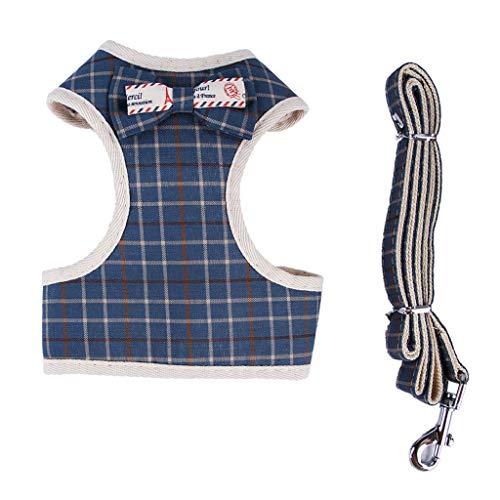 Smniao Hundegeschirr und Leine Set für Kleine Hunde Haustier Brustgurt Katze Welpen Geschirr Weichem Mesh Komfort Bowknot Weste (S, Blau) - Welpen Geschirre
