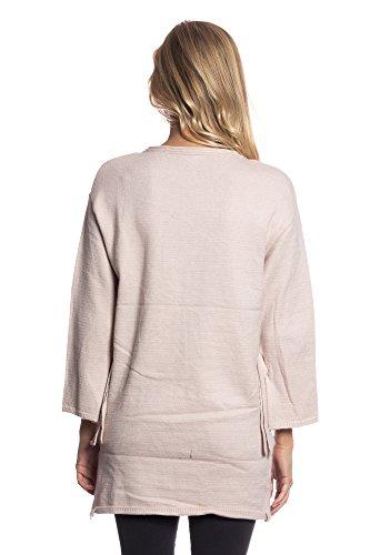Abbino ig002 Pullovers Ragazze Donne - Made in Italy - 3 Colori - Mezza Stagione Autunno Inverno Maglia Pullover Saldi Lunghe Casual Tempo Libero Caldo Moda Giovane Flessibile - Taglia Unica Beige