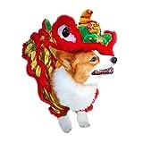 FOONEE Disfraz para Perro, Disfraz de dragón de Baile de león, Ropa para Mascotas, Ropa Creativa para Perro (Rojo)