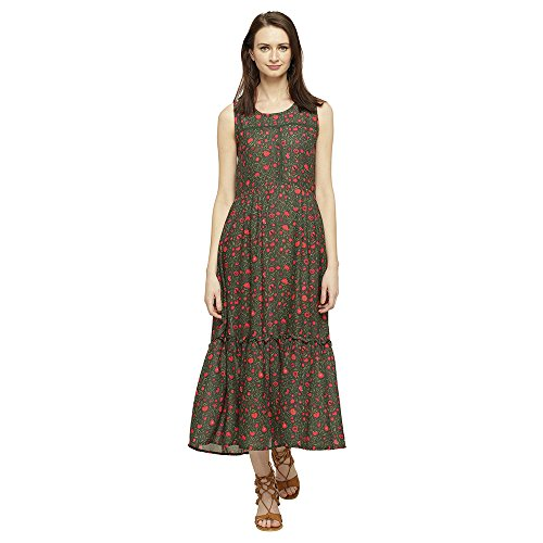 Mineral Women's Pleated Maxi Dress (UI17B-269 R WMX_Green_M)  available at amazon for Rs.799