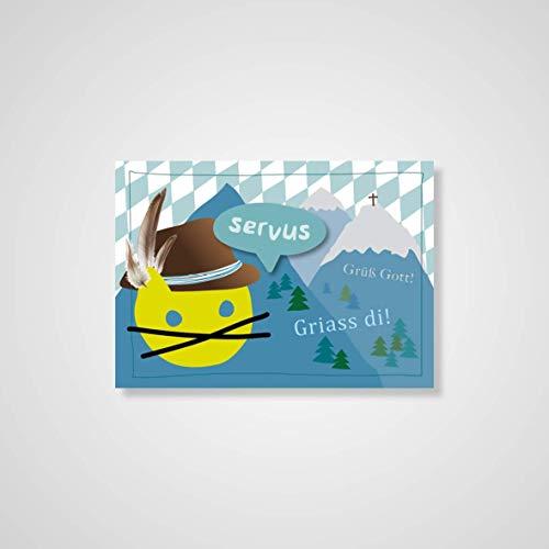 Grusskarte ''Servus'', Postkarte, Recycling, München, Bayern, Lokalpatrioten, Herz, Grüße, Verliebt, Karte, Geschenk, Gedanken, rot
