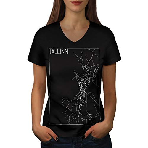 estonia-city-tallin-town-map-women-new-black-l-v-neck-t-shirt-wellcoda