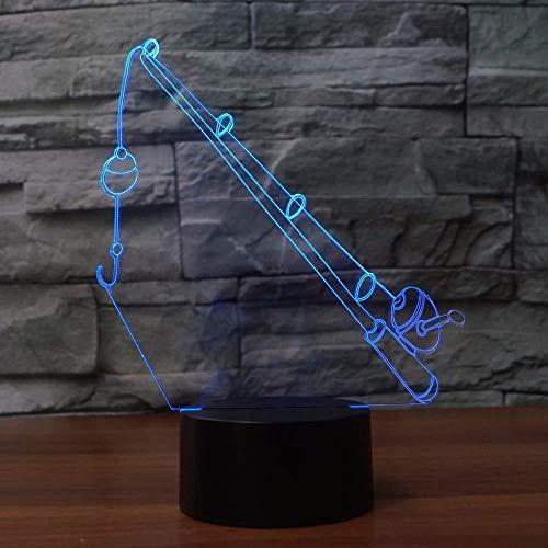 3D Illusion Light Angelrute 3D Lampe 7 Farbwechsel Remote Touch Schalter Angelausrüstung Nachtlicht Lichter Atmosphäre Lampe Schlafzimmer Licht für Geschenk