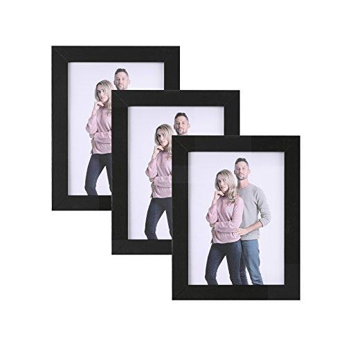 SONGMICS Bilderrahmen 13 x 18 cm, Bilderrahmen Collage im 3er-Set, Fotorahmen mit Glasscheibe, Rahmenbreite 2cm, MDF Schwarz RPF33BK