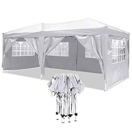 fenster markise YUEBO Faltpavillon Wasserdicht Gartenpavillon, 3 x 6m Partyzelt Pavillon Festzelt mit 4 Seitenteilen für Garten/Party /Hochzeit/Picknick /Markt- Tragetasche inklusive