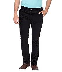 Jogur Black Cotton Blend Corduroy Pants For Men