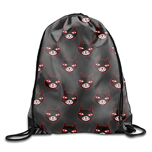 uykjuykj Tunnelzug Rucksäcke, Basic Drawstring Halloween Black Kitten Tote Cinch Sack Promotional Backpack Bag 10 Patterns Available Halloween Black Kitten9 Lightweight Unique 17x14 IN