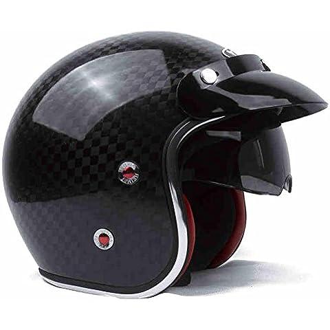 Lente dual casco de moto de fibra de carbono 12K medio casco Harley unisex
