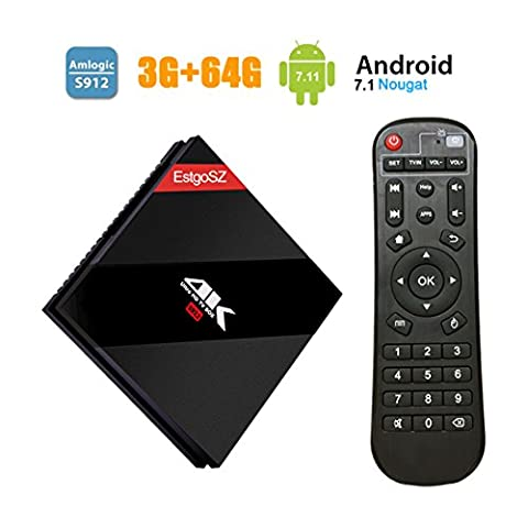 Android 7.1 3GB/64GB EstgoSZ TV BOX mit Amlogic 912 Octa Core RAM 3GB ROM 64GB Smart Internet TV Box Bluetooth 4.1 mit Fernbedienung und LAN Schnittstelle unterstützt Wirless WiFi